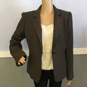 Tahari brown wool blend one button blazer Sz 10
